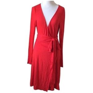 Women's Beautiful Red Small Dress With Wrap Tie